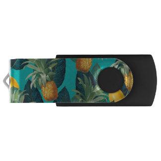 pineaple and lemons teal USB flash drive