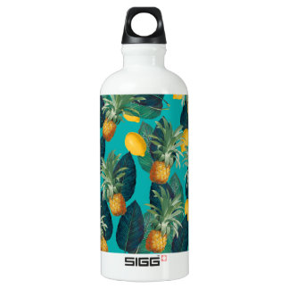 pineaple and lemons teal water bottle