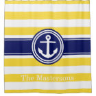 Pineapp Yellow Wt Navy Blue Nautical Stripe Anchor