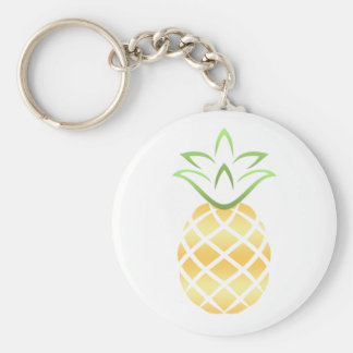 Pineapple Aloha Hawaii! Basic Round Button Keychain