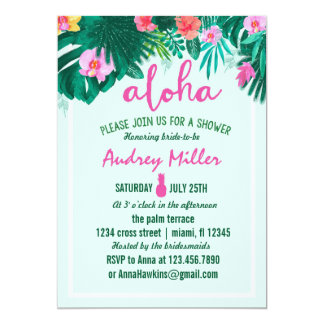 PINEAPPLE ALOHA tropical flower bridal shower Card