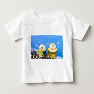 Pineapple and melon fruit with straws at pool baby T-Shirt