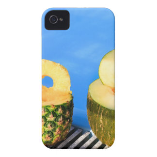 Pineapple and melon fruit with straws at pool iPhone 4 Case-Mate cases