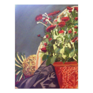 Pineapple and Red Flowers Still life Poster