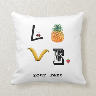 Pineapple, banana, love throw pillow