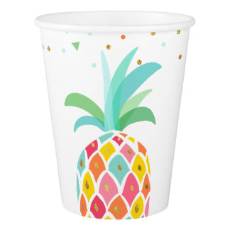 Pineapple birthday Paper Cup Tropical Luau Hawaii