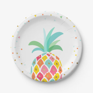 Pineapple Birthday Paper Plates Tropical Luau Gold
