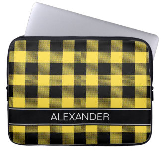Pineapple Black Buffalo Check Plaid Name Monogram Laptop Sleeve
