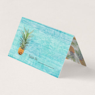Pineapple Blue Rustic Hawaiian Tented Escort Cards