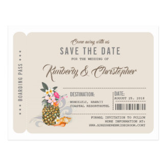 Pineapple Boarding Pass Ticket Save the Date Postcard