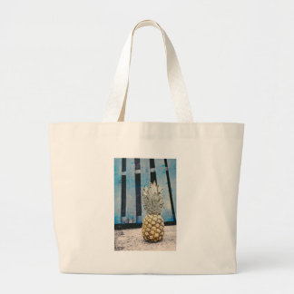 Pineapple By The Beach Large Tote Bag