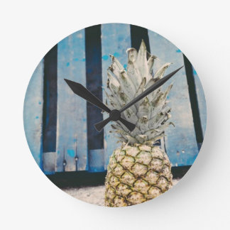 Pineapple By The Beach Round Clock