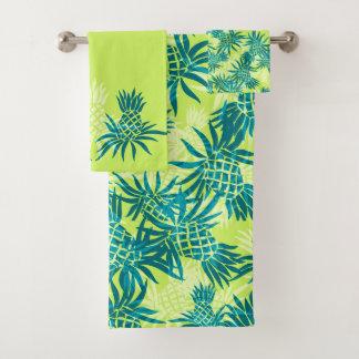 Pineapple Camo Hawaiian Tropical Coordinate- Lime Bath Towel Set