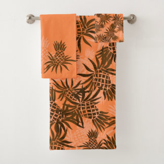 Pineapple Camo Hawaiian Tropical Coordinate-Papaya Bath Towel Set