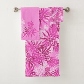 Pineapple Camo Hawaiian Tropical Coordinate- Pink Bath Towel Set