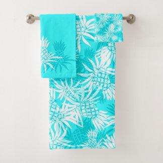 Pineapple Camo Hawaiian Tropical Coordinate- Turq Bath Towel Set