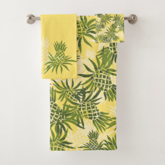 Pineapple Camo Hawaiian Tropical Coordinate-Yellow Bath Towel Set