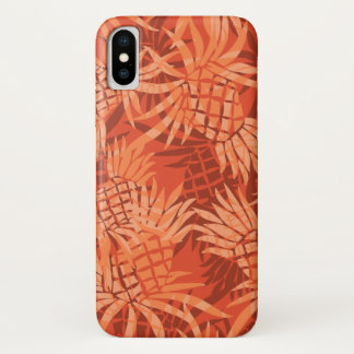 Pineapple Camo Hawaiian Tropical - Orange iPhone X Case