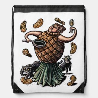 Pineapple Chef Making Crepes Drawstring Bag