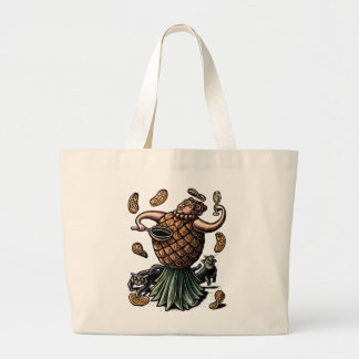 Pineapple Chef Making Crepes Large Tote Bag