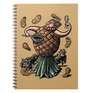 Pineapple Chef Making Crepes Spiral Notebook