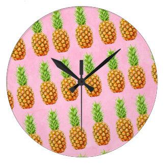 Pineapple cool pattern large clock