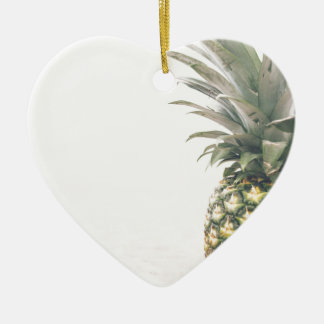 Pineapple Crown Ceramic Heart Ornament
