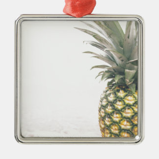 Pineapple Crown Silver-Colored Square Ornament