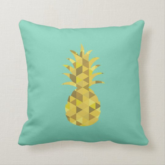 pineapple cushion // mint and yellow // geo print