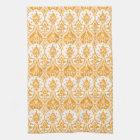 Pineapple Damask Orange Kitchen Towel