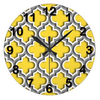 Pineapple Dk Gray White Moroccan Quatrefoil #5DS Large Clock