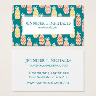 Pineapple Doodle Pattern | Monogram Business Card