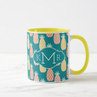 Pineapple Doodle Pattern | Monogram Mug