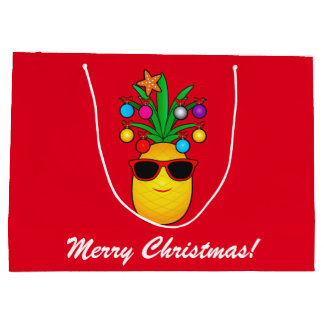 Pineapple Dressed Up for the Holidays! Large Gift Bag