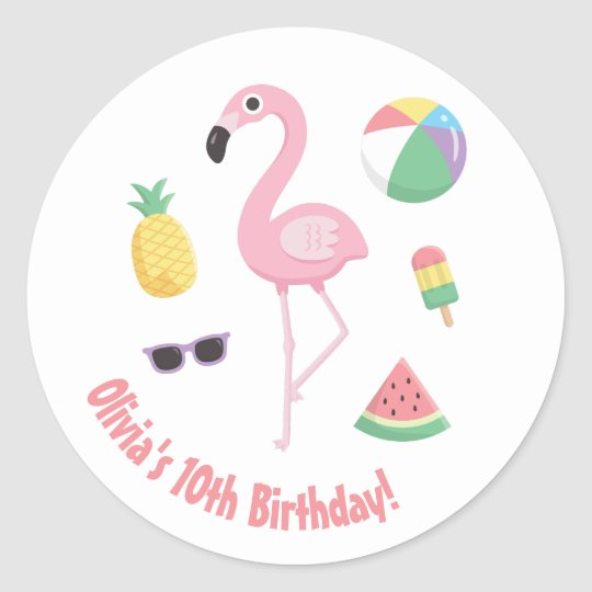 Pineapple Flamingo Luau Birthday Party Stickers