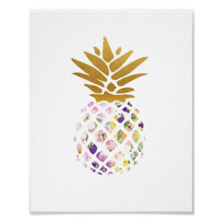 Pineapple - gold - floral poster