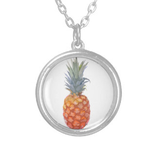 Pineapple Graphic Silver Plated Necklace