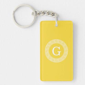 Pineapple Greek Key Rnd Frame Initial Monogram Single-Sided Rectangular Acrylic Keychain