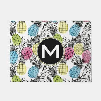 Pineapple Grunge Palms   Monogram Doormat