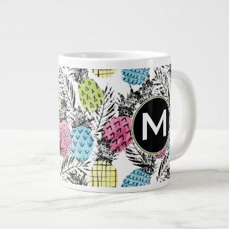 Pineapple Grunge Palms | Monogram Giant Coffee Mug