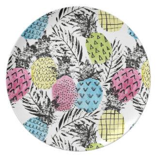 Pineapple Grunge Palms Plate
