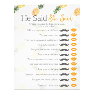 Pineapple he said she said bridal shower game customized letterhead
