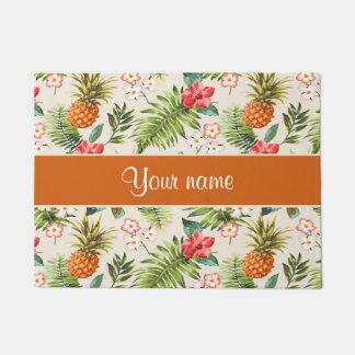 Pineapple Hibiscus and Palm Fronds Doormat