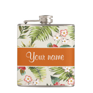 Pineapple Hibiscus and Palm Fronds Flask