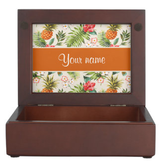 Pineapple Hibiscus and Palm Fronds Memory Boxes