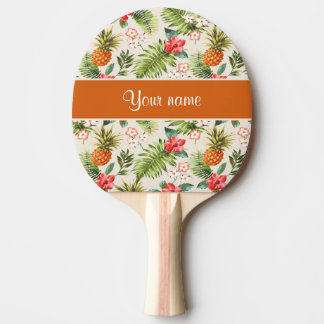 Pineapple Hibiscus and Palm Fronds Ping-Pong Paddle