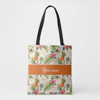 Pineapple Hibiscus and Palm Fronds Tote Bag