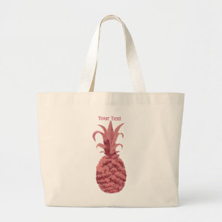 Pineapple in Rose Gold Large Tote Bag