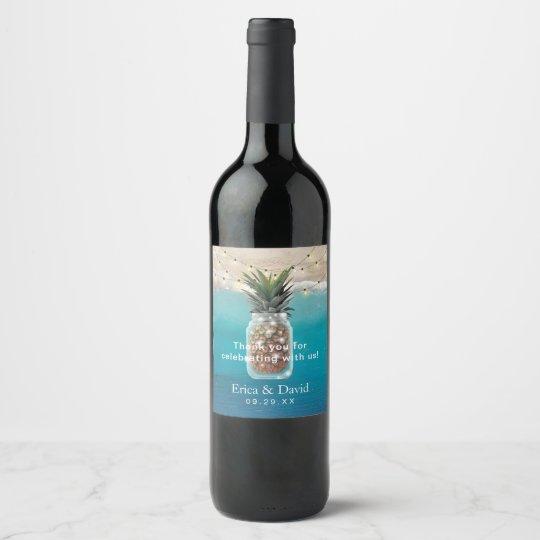 Pineapple Jar String Lights Tropical Beach Wedding Wine Label