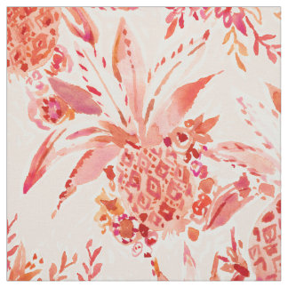 PINEAPPLE JUICE Peach Tropical Floral Fabric